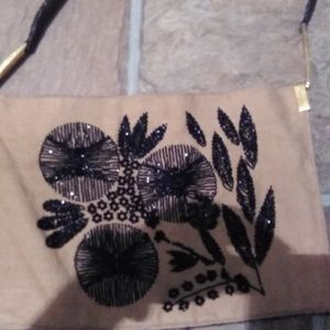 VINTAGE FENDI Python Burlap Jet Beads Shoulder Bag